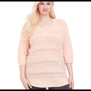 Torrid Blush Pointelle Tunic Sweater